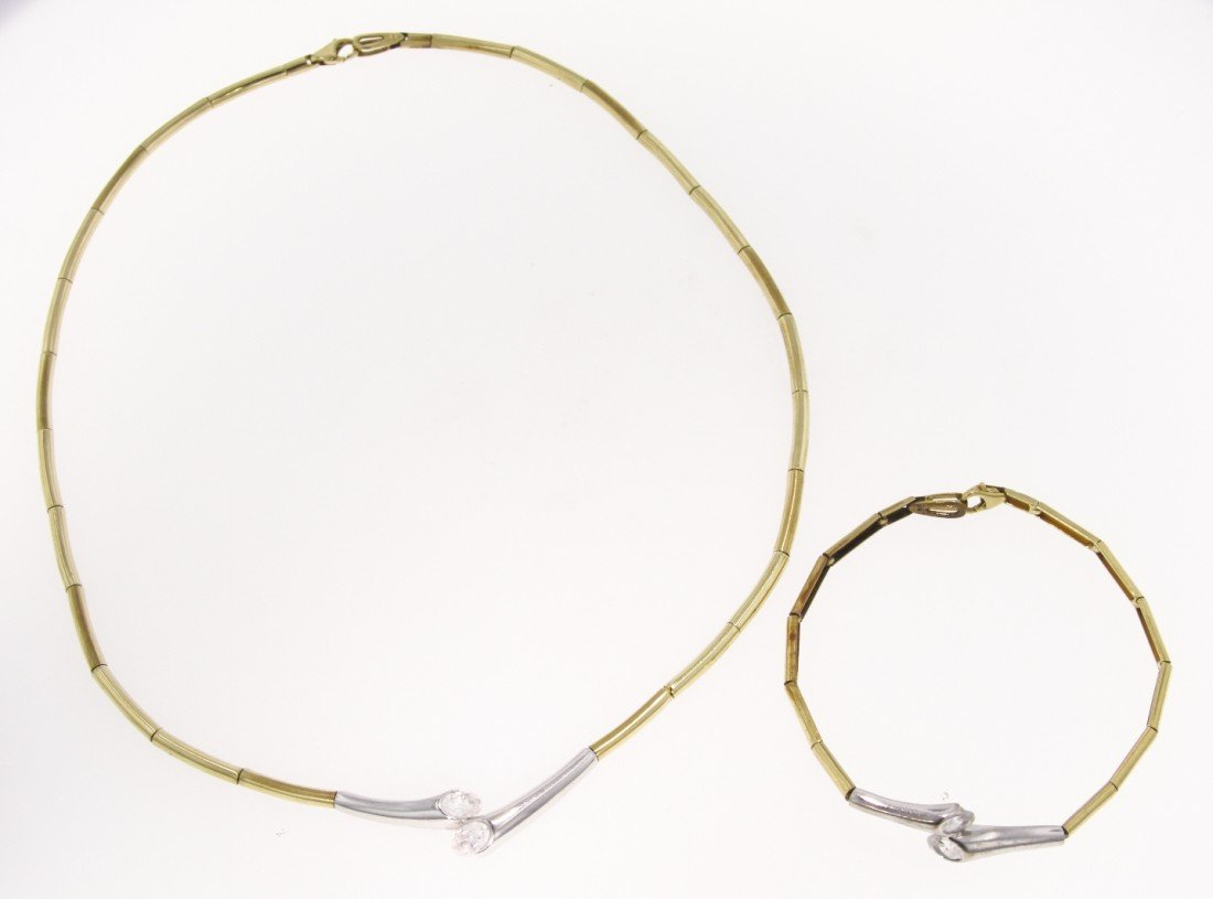 Yellow and White Gold and Crystal Necklace with Matchin