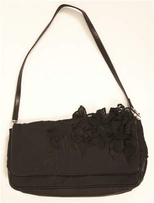 NWT Dries Van Noten Runway Clutch Black Leather and Sil