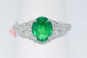 18KT White Gold 1.07ct Emerald Ring FJM1258
