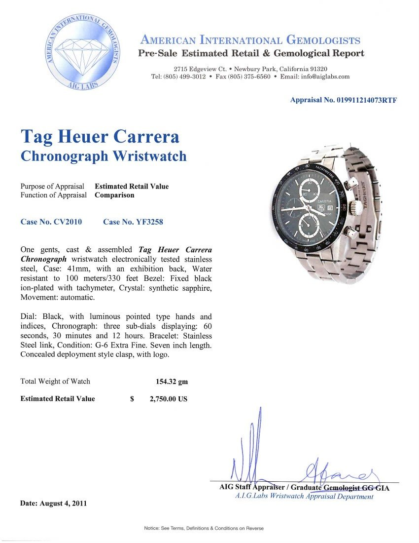 Tag Heuer Carrera Chronograph Wristwatch WBS62 - 4