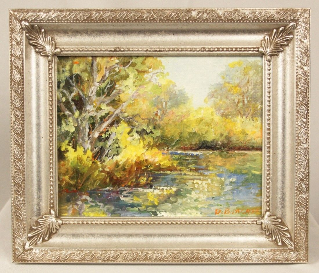 """Original Oil Painting """"Late Fall Reflections"""" by D. Bot"""