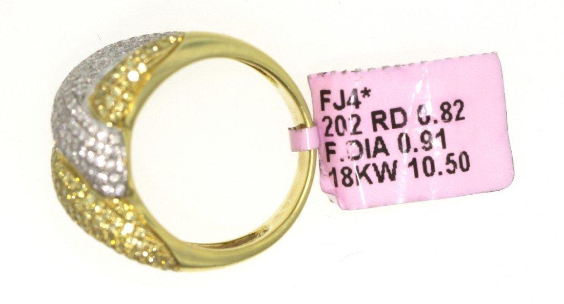18KT Yellow Gold 1.73ct Yellow and White Diamond Ring F - 2