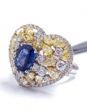 18KT White Gold 1.52ct Sapphire And Diamond Heart Ring
