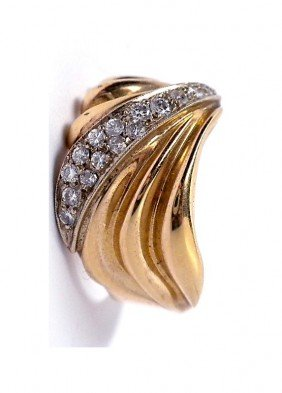 14KT Yellow Gold Ladies Diamond Fan Shaped Ring A720