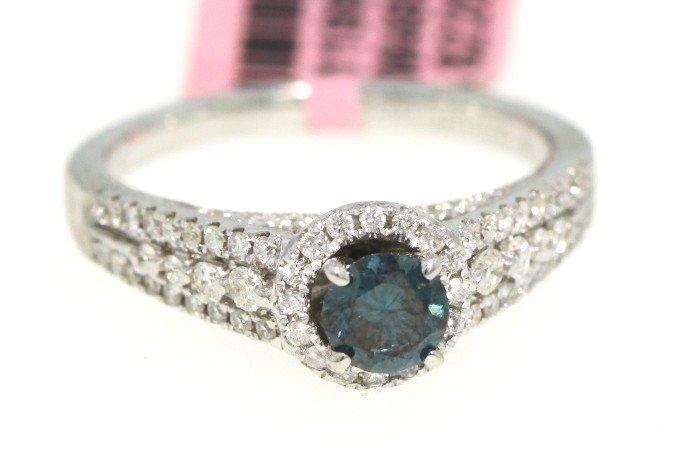 18KT White Gold Blue and White Diamond Ring FJM1205