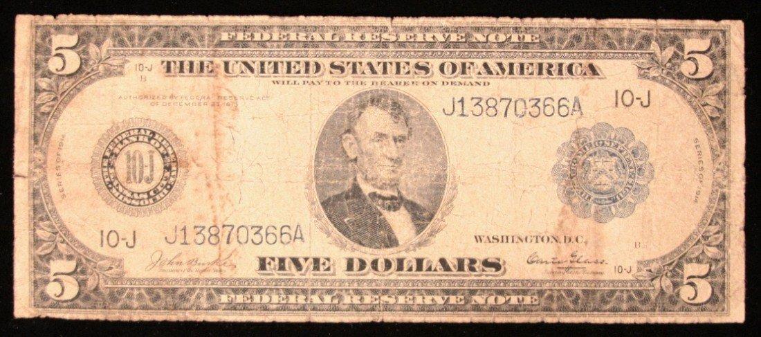 1914 $5 Blue Seal FRN Kansas City Burke/Glass PM2017