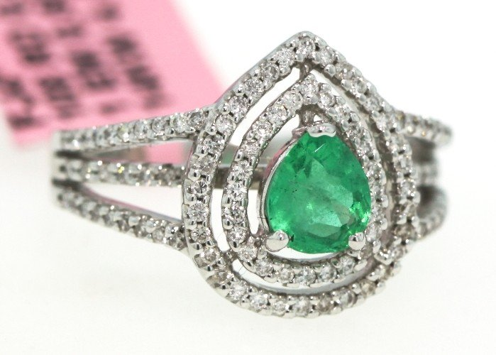 14KT White Gold .6ct Emerald and Diamond Ring FJM906