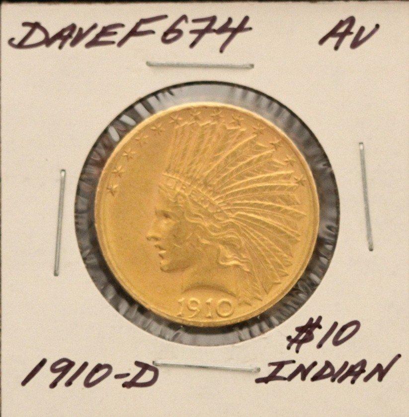 1910-D $10 AU Indian Head Eagle Gold Coin DaveF674