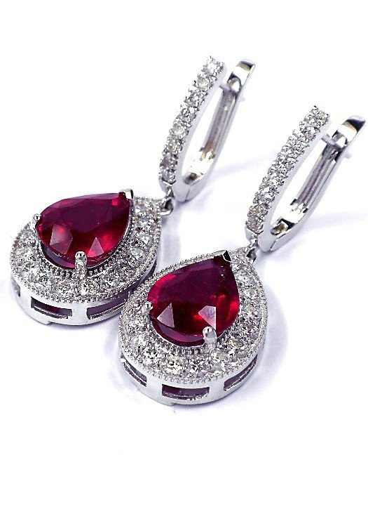14KT White Gold 8.08ct Ruby and Diamond Drop Earrings A