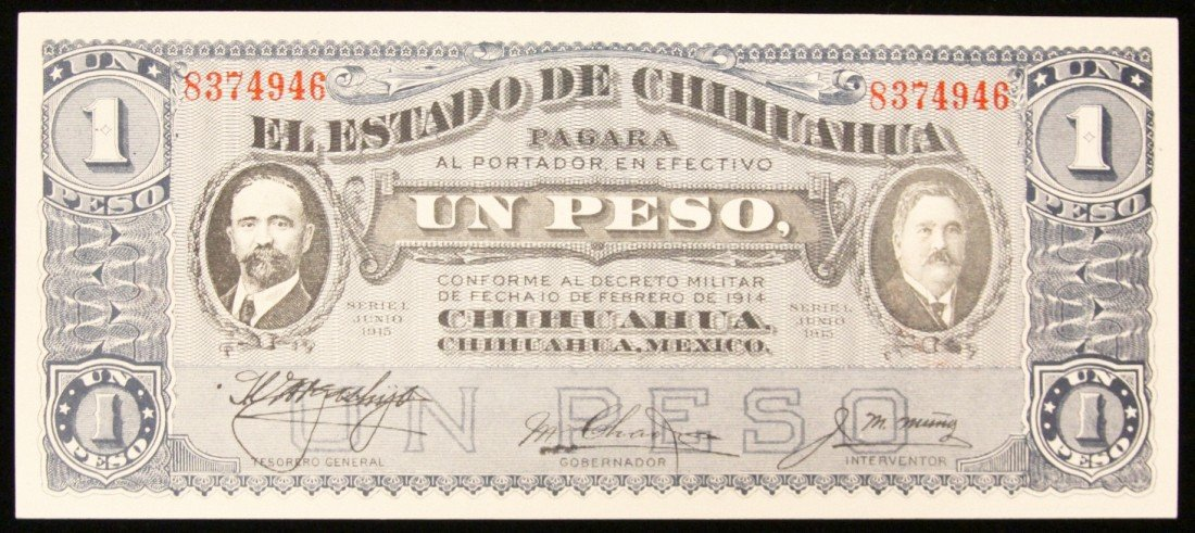 1915 Crisp Uncirculated Mexico 1 Peso Bank Note PM2299