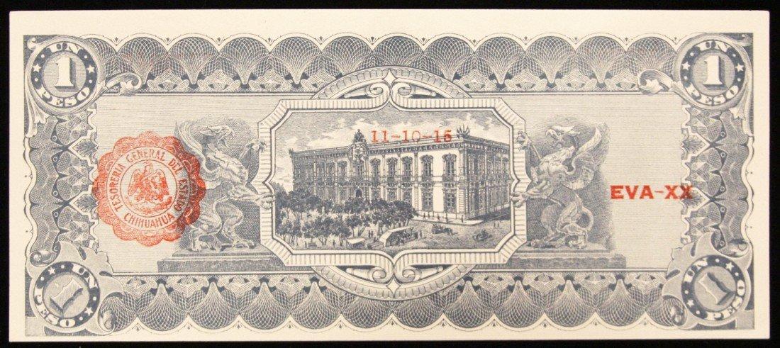 1915 Crisp Uncirculated Mexico 1 Peso Bank Note PM2299 - 2