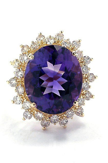 14KT Yellow Gold 5.99ct Amethyst and Diamond Ring A3533