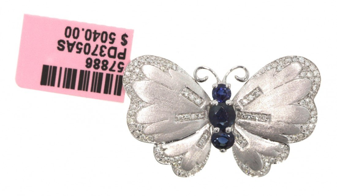 14KT White Gold 1.07ct Sapphire and Diamond Butterfly P