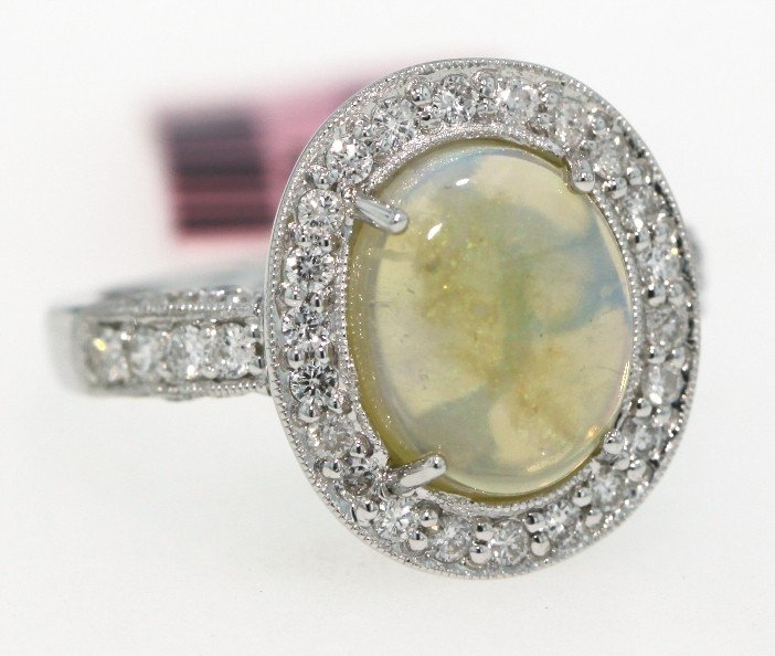 14KT White Gold 2.42ct Opal and Diamond Ring FJM862