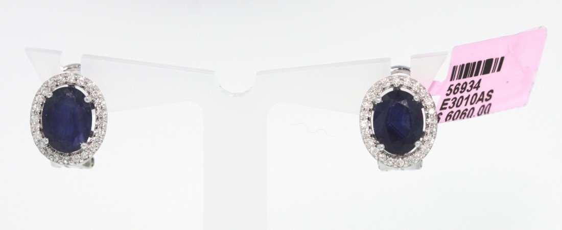 14KT White Gold 4.24ct Sapphire and Diamond Earrings FJ