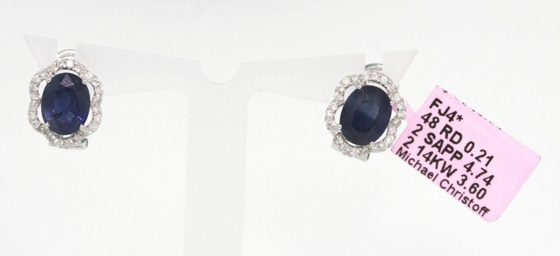 14KT White Gold 4.74ct Sapphire and Diamond Earrings FJ