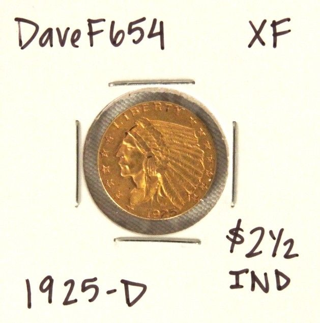 1925-D $2-1/2 XF Indian Head Quarter Eagle Gold Coin Da