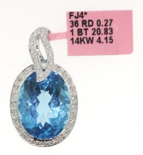 14KT White Gold 20.83ct Blue Topaz And Diamond Pendant