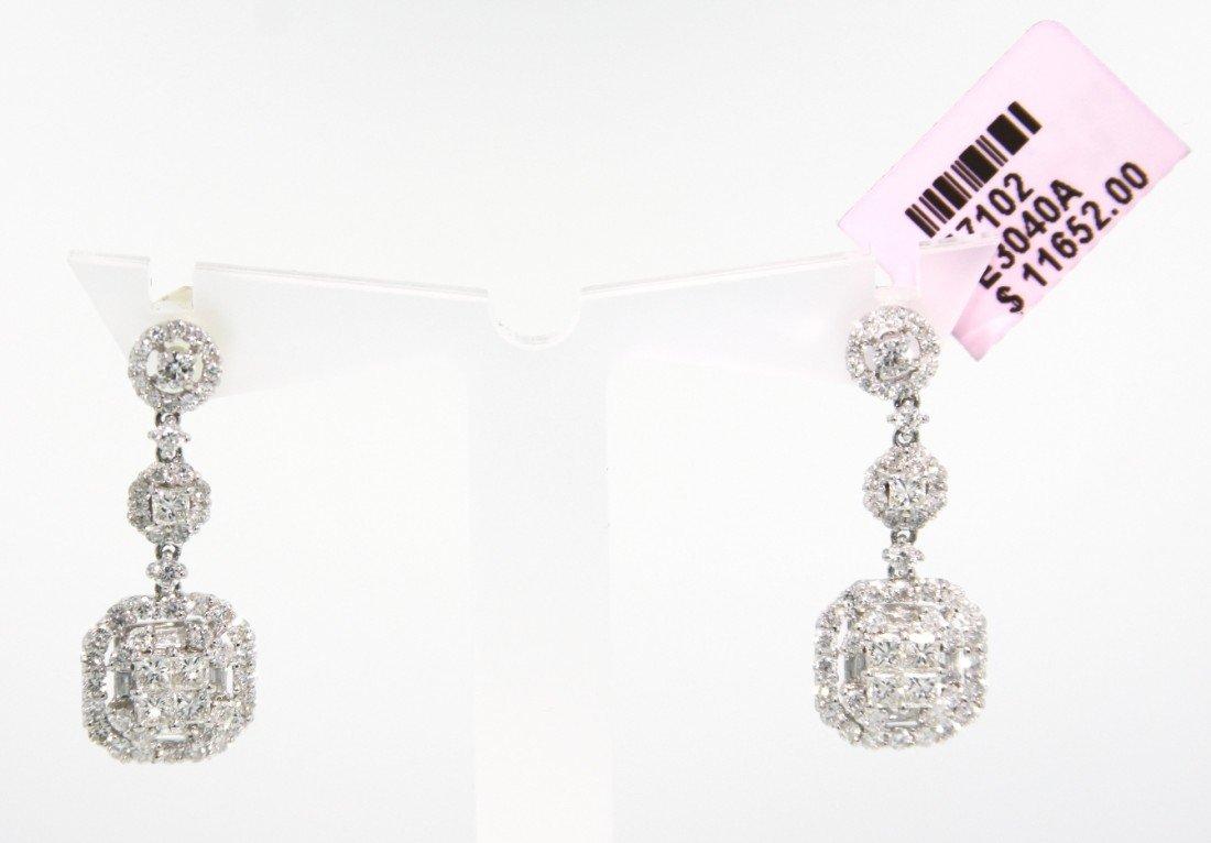 18KT White Gold 2.33ct Diamond Drop Earrings FJM1027