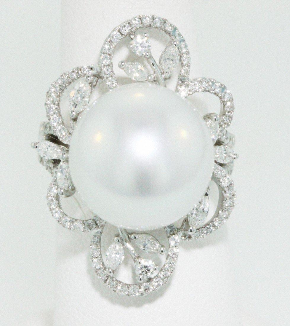 18KT White Gold 15.00mm Pearl Ring FJM1265