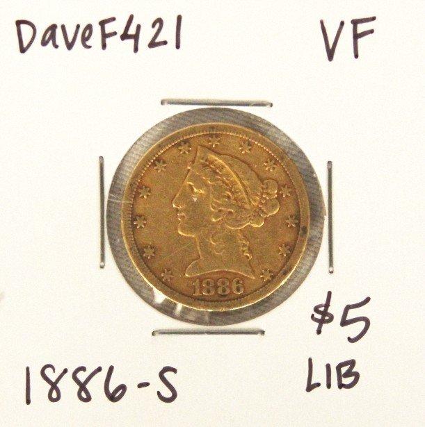 1886-S $5 VF Liberty Head Half Eagle Gold Coin DaveF421