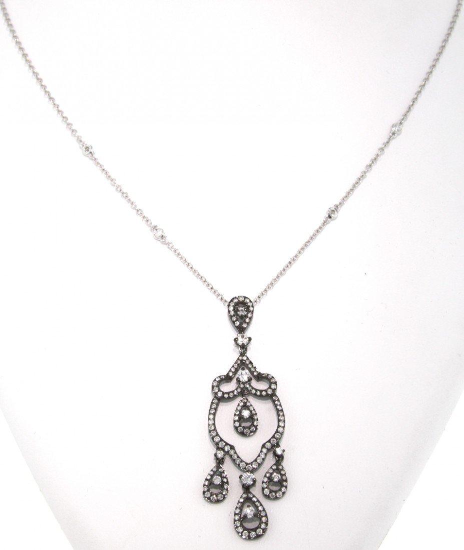 14KT White Gold 1.36ct Diamond Chandelier Necklace FJM1