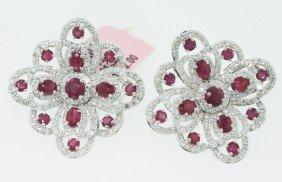 14KT White Gold 4.17ct Ruby Earrings FJM1279