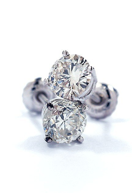 14KT White Gold 1.28ct Diamond Solitaire Earrings A3477