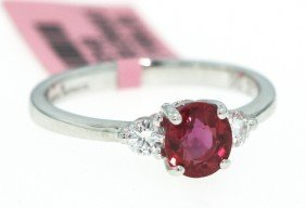 18KT White Gold 1.21ct Ruby And Diamond Ring FJM740