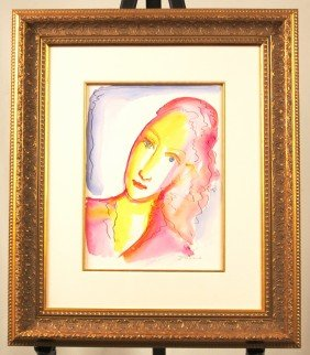 "Original Watercolor By Listed Artist Ivan Jenson ""Woman"
