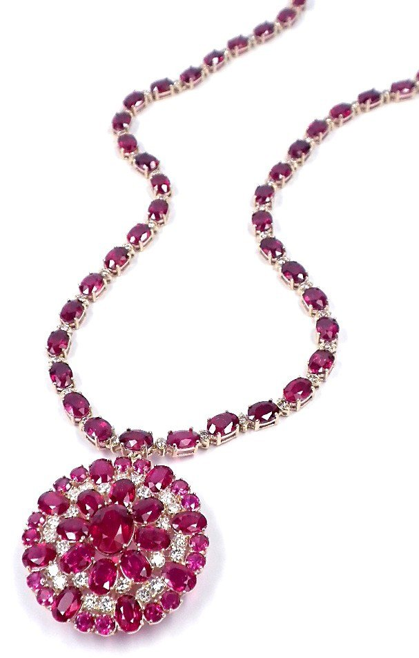 14KT Yellow Gold 71.36ct Ruby and Diamond Necklace A362