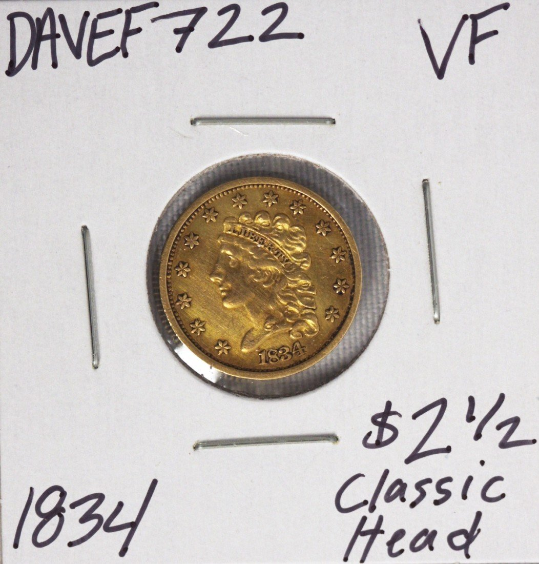 1834 $2 1/2 VF Classic Head Quarter Eagle Gold Coin DAV