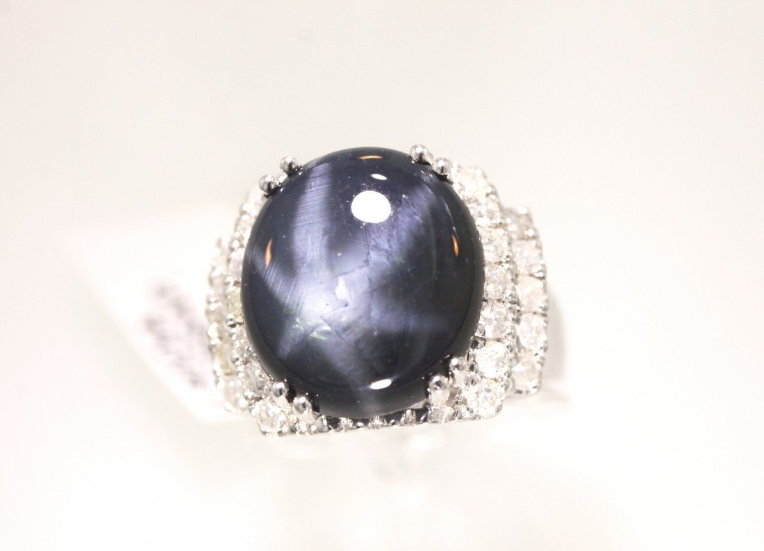 14KT White Gold 15.66ct Blue Sapphire and Diamond Ring