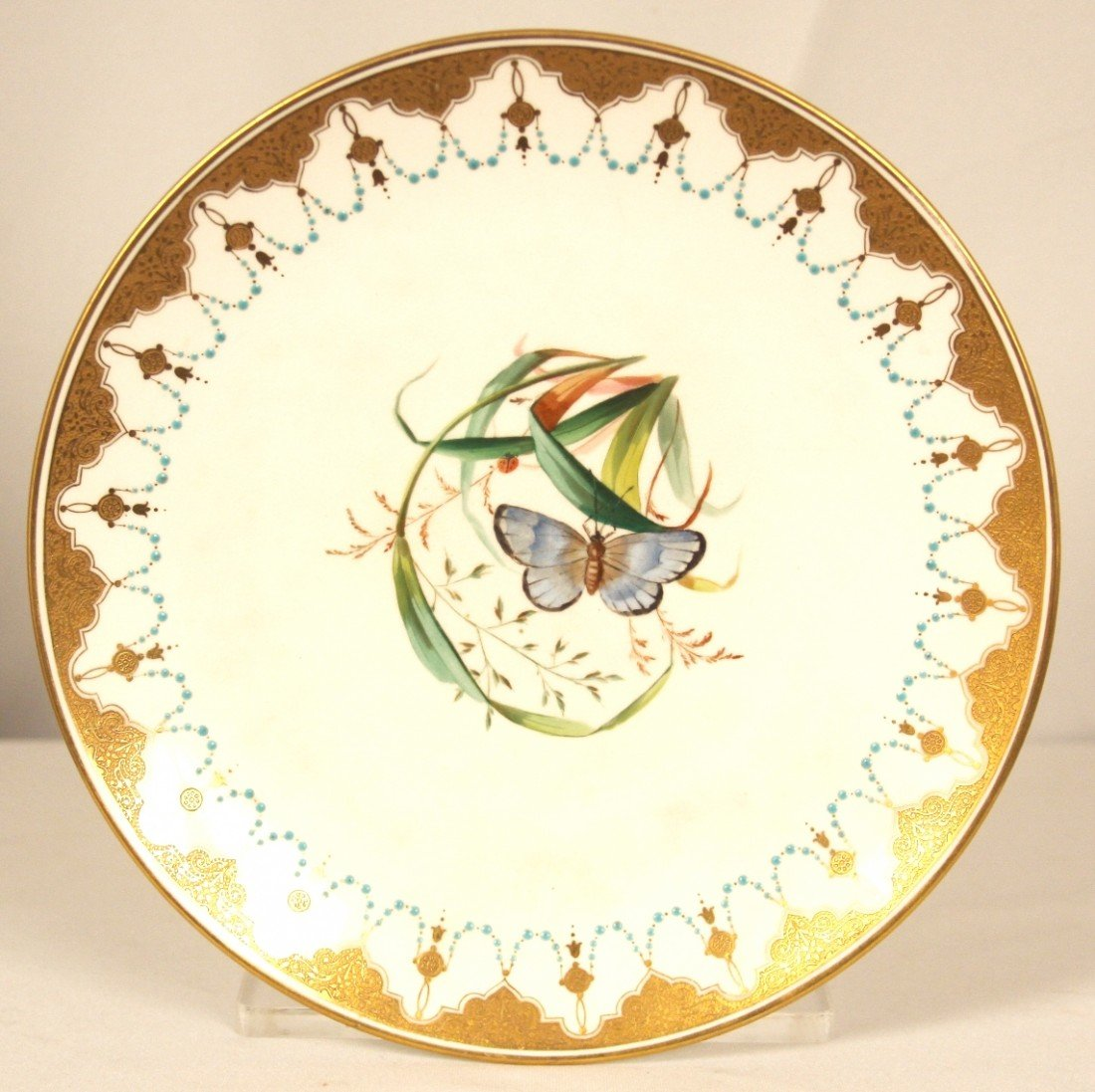 Antique Mintons Plate Blue Butterfly Hand Painted 1873-