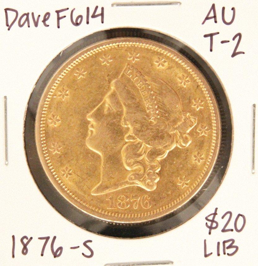1876-S $20 AU Type-2 Liberty Head Double Eagle Gold Coi