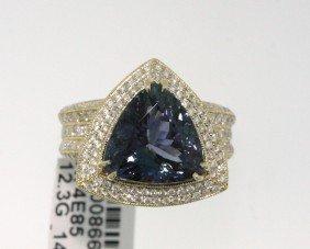 14KT Yellow Gold 7.58ct Tanzanite & Diamond Ring RM482