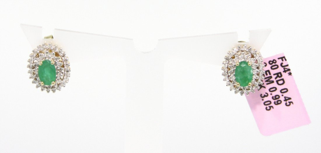 14KT Yellow Gold .99ct Emerald and Diamond Stud Earring