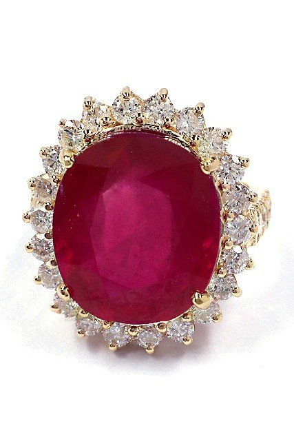 14KT Yellow Gold 12.93ct Ruby and Diamond Ring A3627