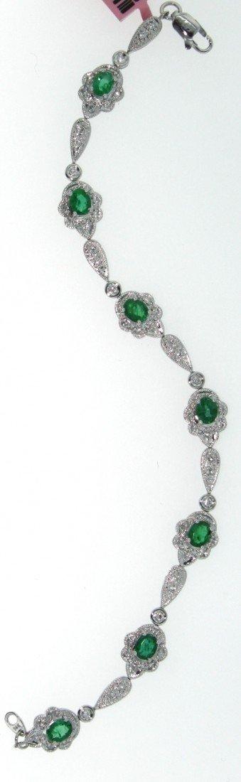 14KT White Gold 1.73ct Emerald & Diamond Bracelet FJM14