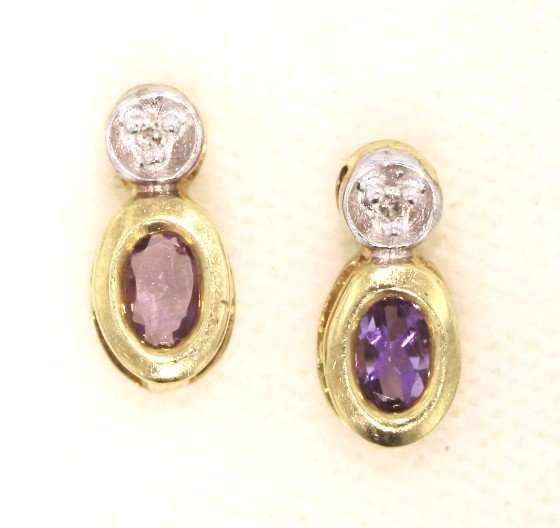 14KT Yellow Gold .62ct Amethyst and Diamond Earrings GD