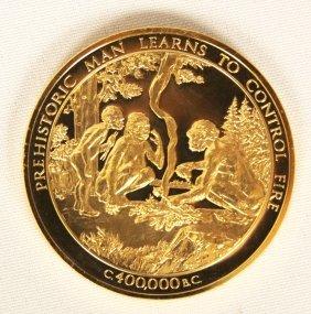 """Prehistoric Man"" 24KT Gold Plated Sterling Silver Meda"