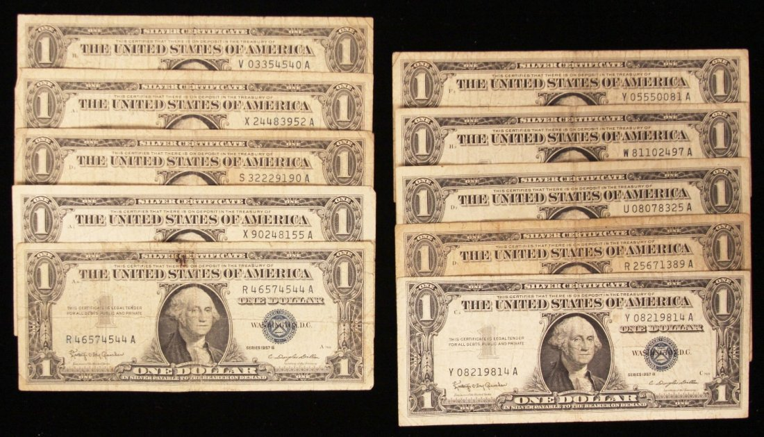 Lot of (10) 1957-B $1 Silver Certificate PMP30