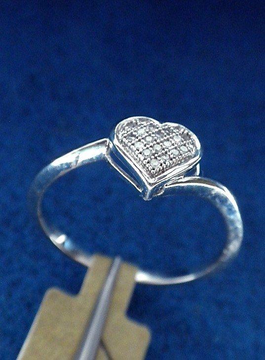 10KT White Gold Heart Framed Diamond Ring A2812