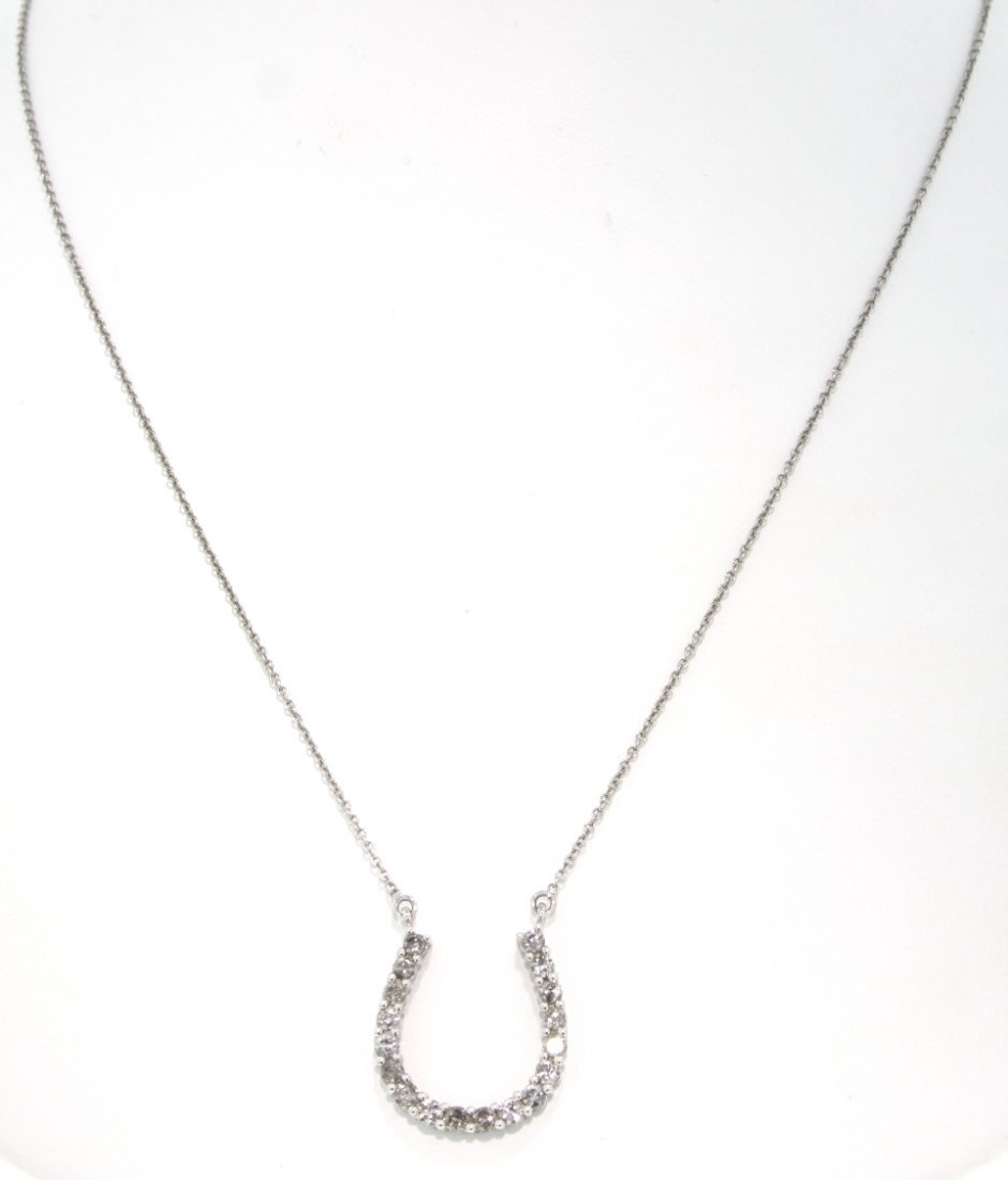 14KT White Gold .44ct Lucky Horseshoe Necklace GD391
