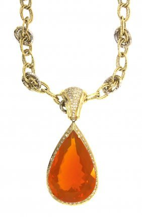 14KT Yellow Gold 78.52ct Fire Opal & Diamond Necklace R