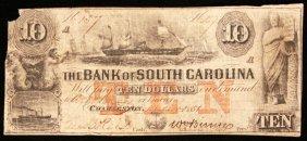 1851 $10 Bank of North Carolina Bank Note PM2190