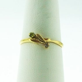 10KT Yellow Gold Peridot and Diamond Ring GD61