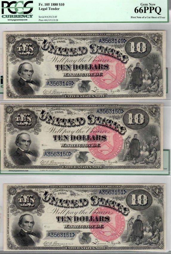 Rare FINEST PCGS 1880 $10 Jackass Fr.105 (3) Sequential