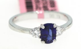 18KT White Gold 1ct Sapphire And Diamond Ring FJM900