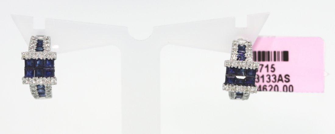 14KT White Gold 3.72ct Sapphire and Diamond Earrings FJ